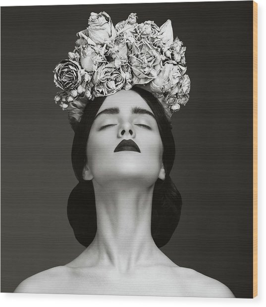 Beautiful Woman With Wreath Of Flowers Wood Print