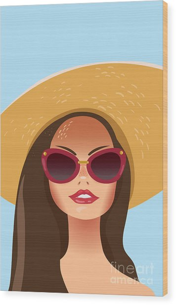 Beautiful Young Woman With Sunglasses Wood Print