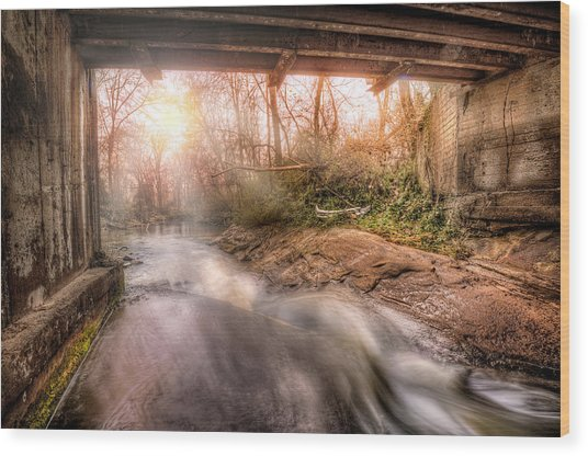 Beauty From Under The Old Bridge Wood Print