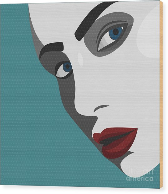 Beauty Pop Art Young Woman With Red Wood Print by Svyatoslav Aleksandrov