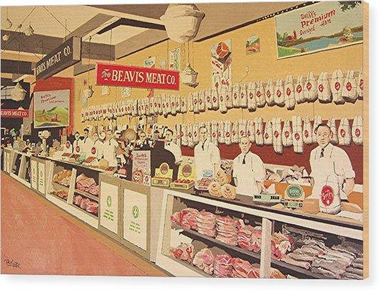 Beavis Meat In The Public Market Wood Print by Paul Guyer