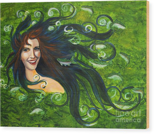 Lady Of The Lake Wood Print