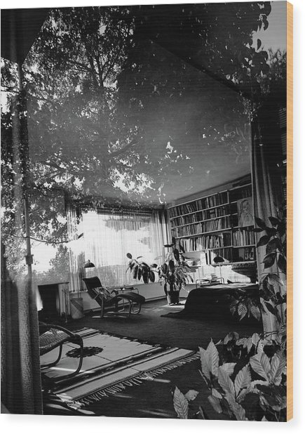 Bedroom Seen Through Glass From The Outside Wood Print