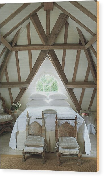 Bedroom With Wooden Ceiling Wood Print