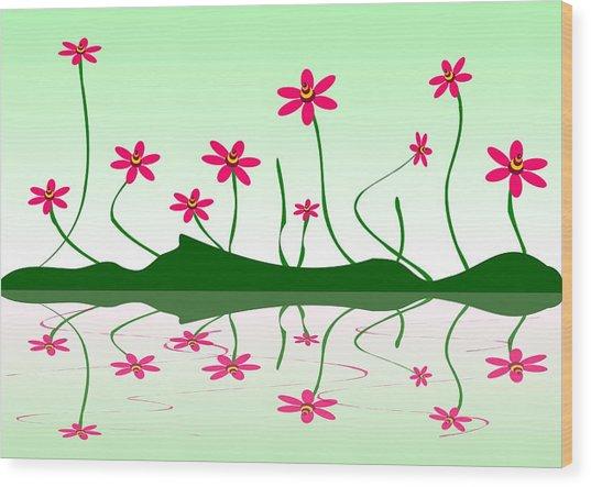 Bee Flowers Wood Print