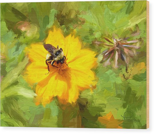 Bee On Flower Painting Wood Print
