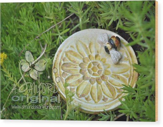 Bee-ware Wood Print by Amanda  Sanford