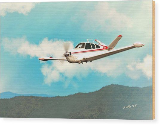 Beechcraft Bonanza V Tail Red Wood Print