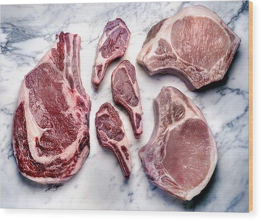 Beef Lamb Pork Raw Wood Print by ATU Images