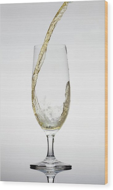 Beer Being Poured Into A Glass Wood Print