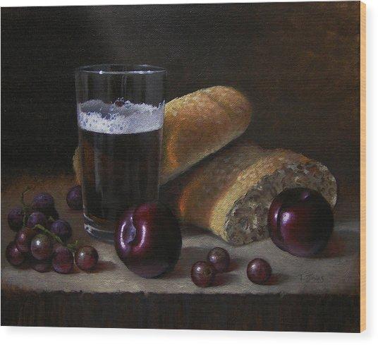 Beer Bread And Fruit Wood Print