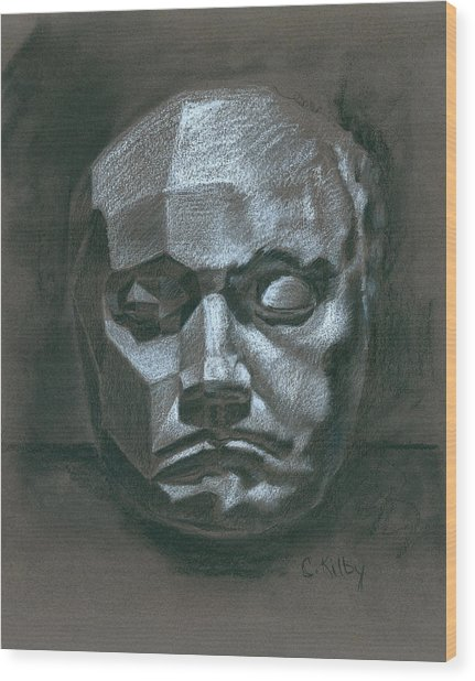 Beethoven Death Mask Wood Print by Claudia Kilby