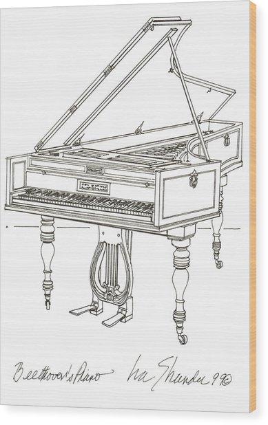 Beethoven's Broadwood Grand  Piano Wood Print