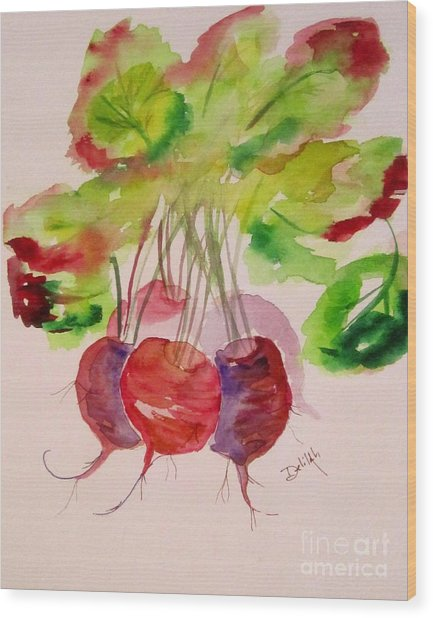 Beets And Green Tops Wood Print by Delilah  Smith