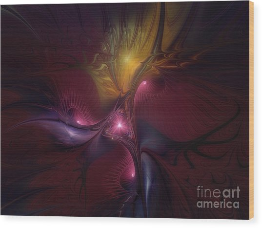 Before Dawn-fractal Art Wood Print