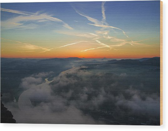 Before Sunrise On The Lilienstein Wood Print