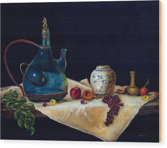 Before The Sangria Wood Print by Gina Cordova