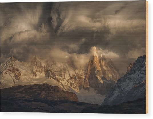 Before The Storm Covers The Mountains Spikes Wood Print