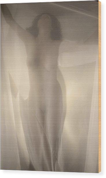 Behind Curtain Nude Wood Print