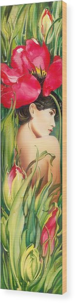 Behind The Curtain Of Colours -the Tulip Wood Print