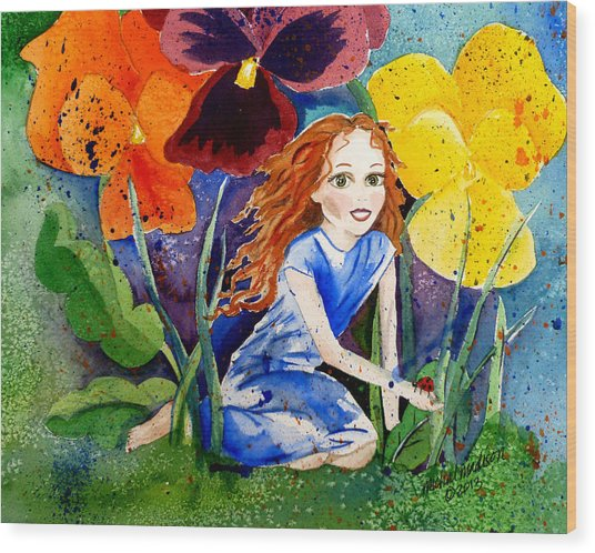 Tiny Flower Fairy Wood Print
