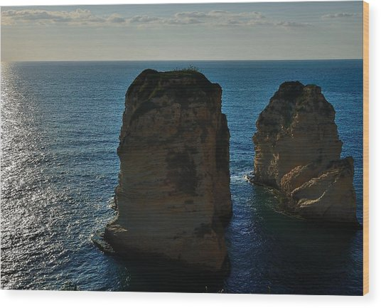 Beirut Pigeon Rocks Wood Print