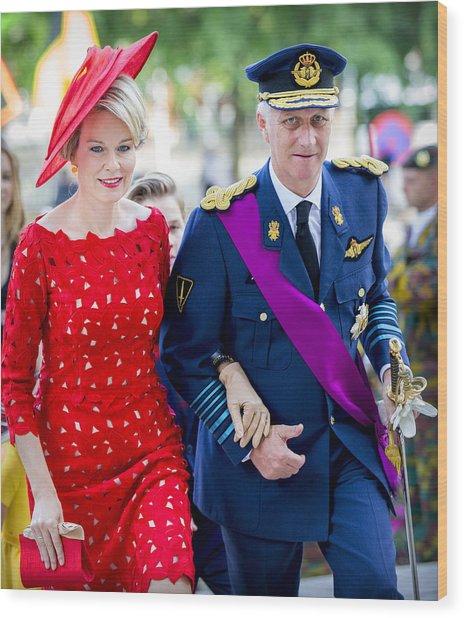 Belgian Royals Attend National Day Wood Print by Patrick van Katwijk