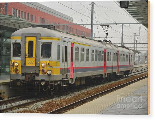 Belgium Railways Commuter Train At Brugge Railway Station Wood Print