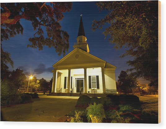 Belin Memorial Umc After Dark Wood Print
