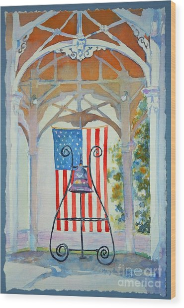 Bell And Flag Wood Print