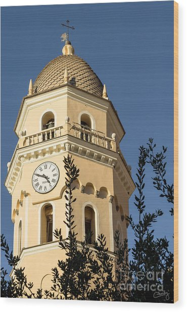 Bell Tower Of Vernazza Wood Print