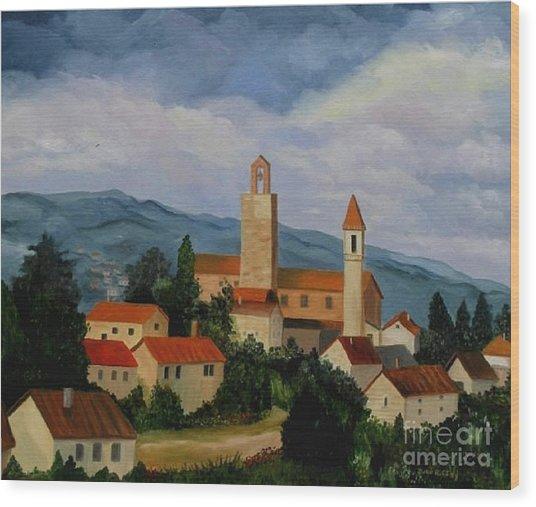 Bell Tower Of Vinci Wood Print