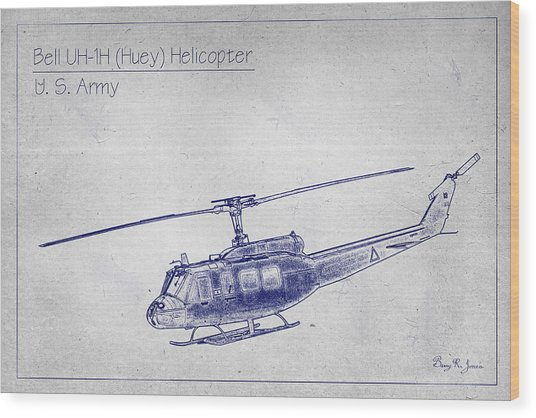 Bell Uh-1h Huey Helicopter  Wood Print