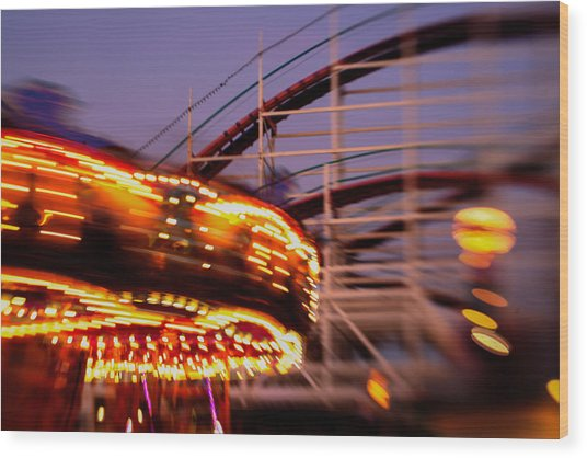 Did I Dream It Belmont Park Rollercoaster Wood Print