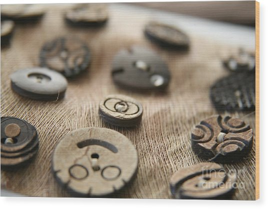Beloved Buttons  Wood Print