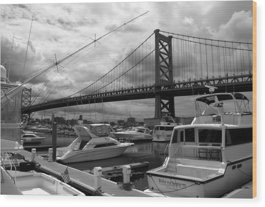 Ben Franklin Bridge Wood Print
