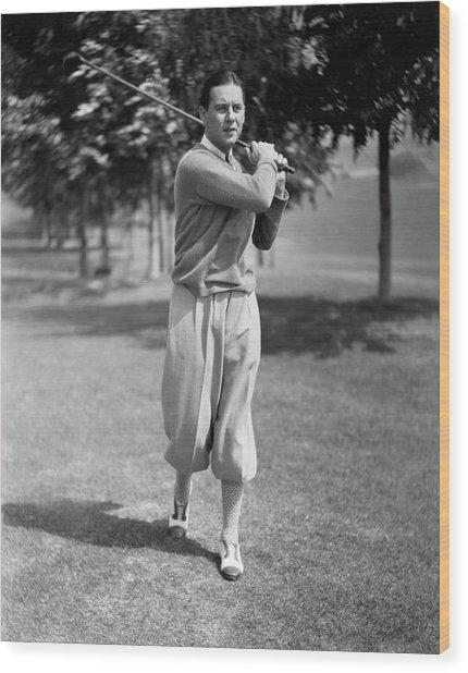 Ben Lyon Playing Golf Wood Print by Artist Unknown