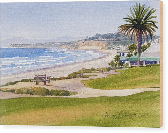 Bench At Powerhouse Beach Del Mar Wood Print