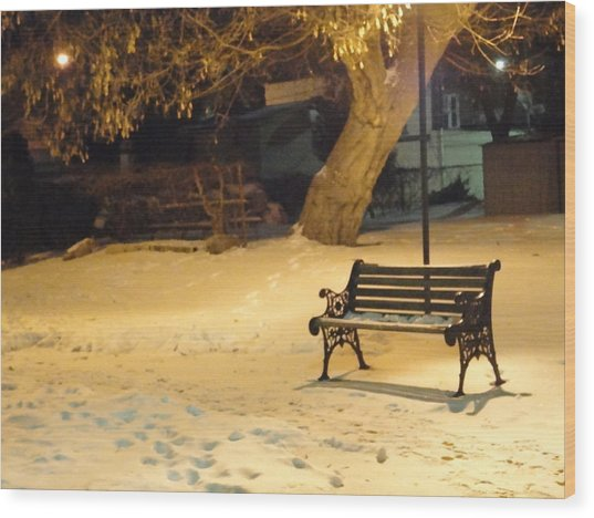 Bench In The Winter Park Wood Print by Guy Ricketts