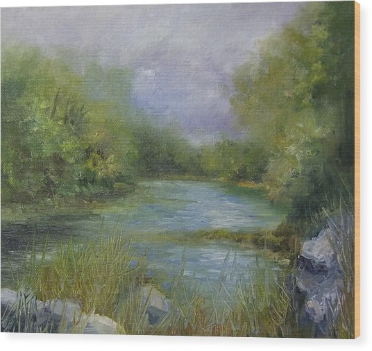 Bend In The River Wood Print by Donna Pierce-Clark