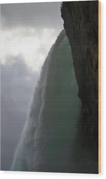Beneath The Falls Wood Print