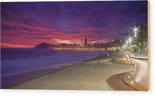 Benidorm At Sunset Wood Print by Michael Underhill