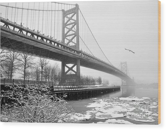 Benjamin Franklin Bridge Wood Print