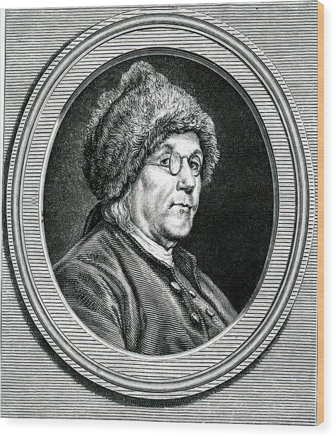 Benjamin Franklin Wood Print by Collection Abecasis