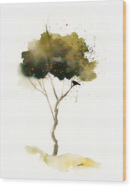 Bent Tree With Blackbird Wood Print