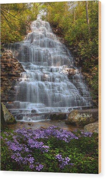 Benton Falls In Spring Wood Print
