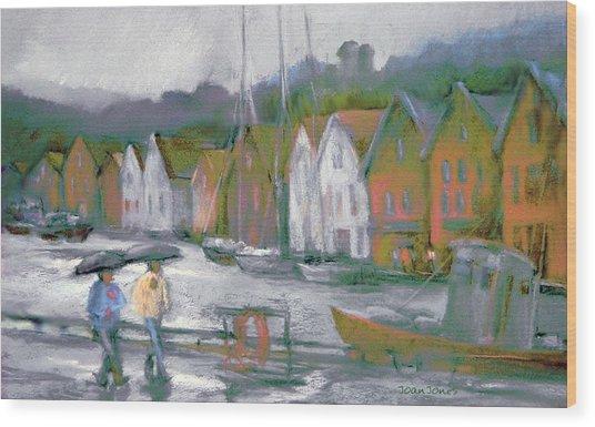 Bergen Bryggen In The Rain Wood Print