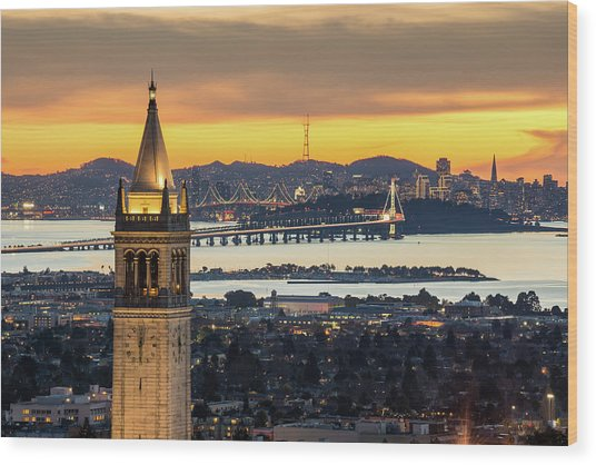 Berkeley Campanile With Bay Bridge And Wood Print by Chao Photography