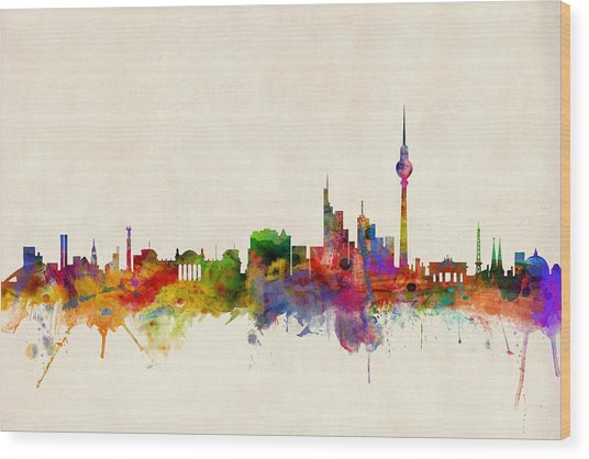 Berlin City Skyline Wood Print