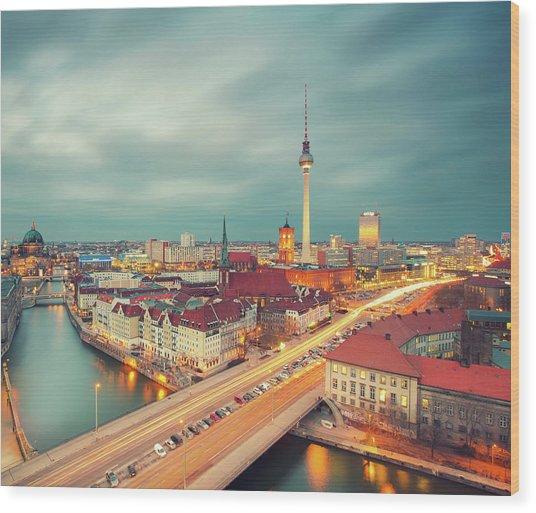 Berlin Skyline With Traffic Wood Print by Matthias Makarinus